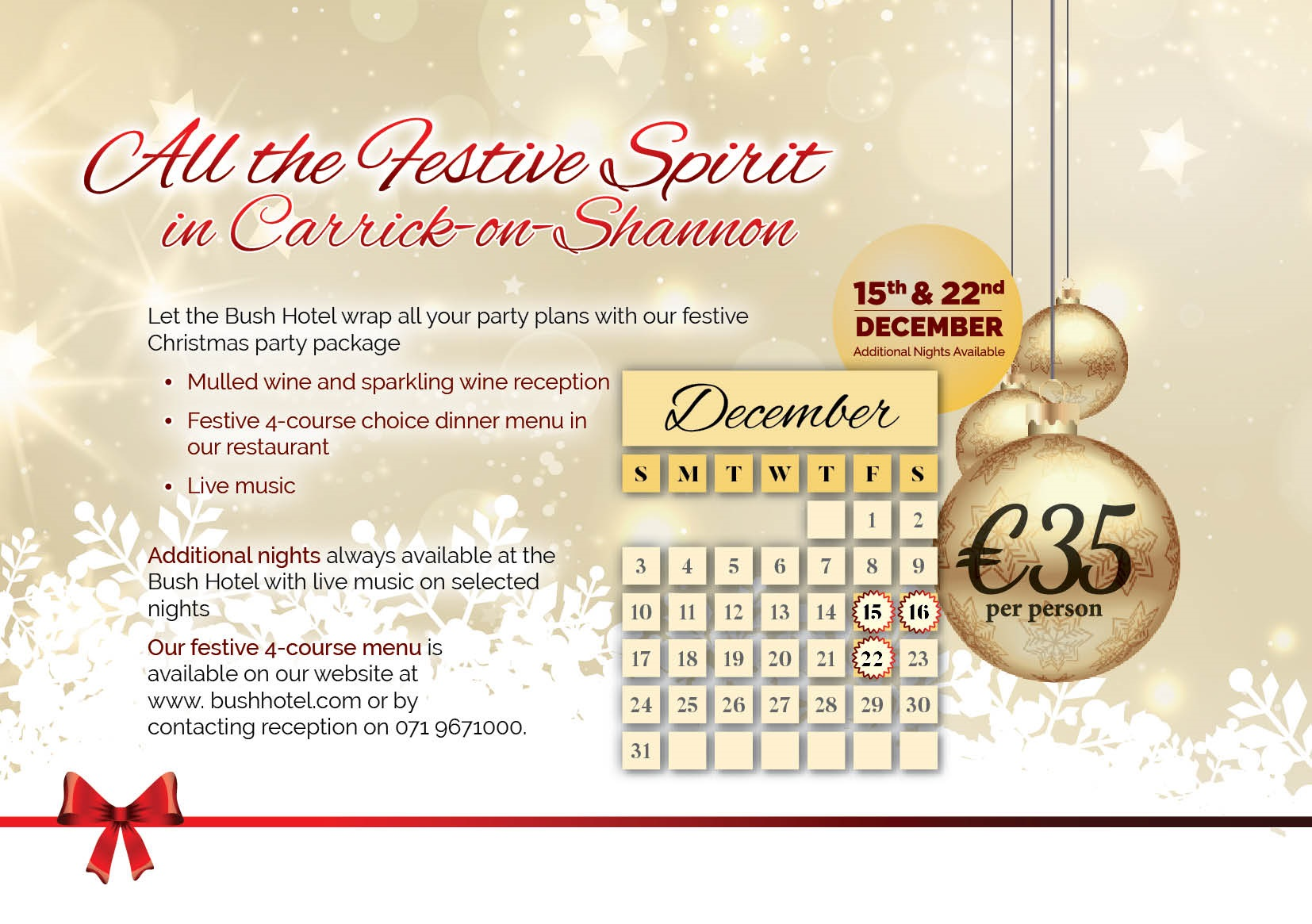 Christmas Brochure Party Nights page